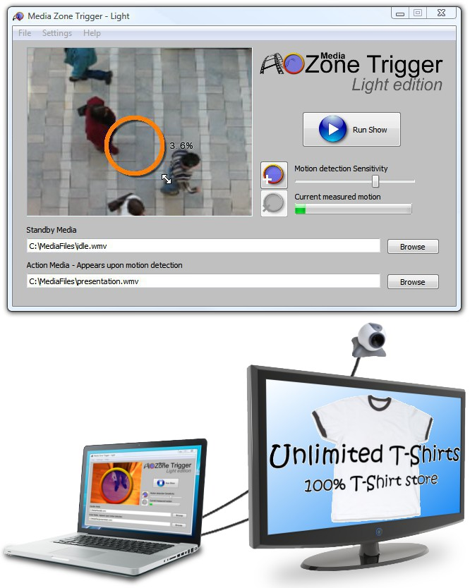 A media player with webcam motion detection