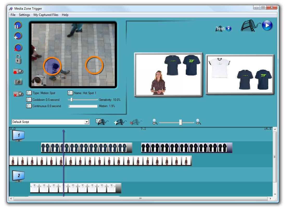 Webcam Interactive Digital Signage software, motion detection and video display